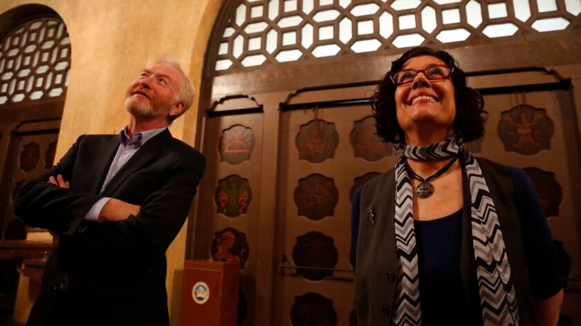 """San Gabriel Mission Playhouse program coordinator Jonathan Salisbury and """"They Shoot Mexicans, Don't They?"""" director Theresa Chavez."""