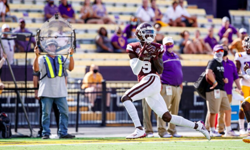 Wide receiver Tyrell Shavers makes a reception for Mississippi State in 2020 season opener against LSU.