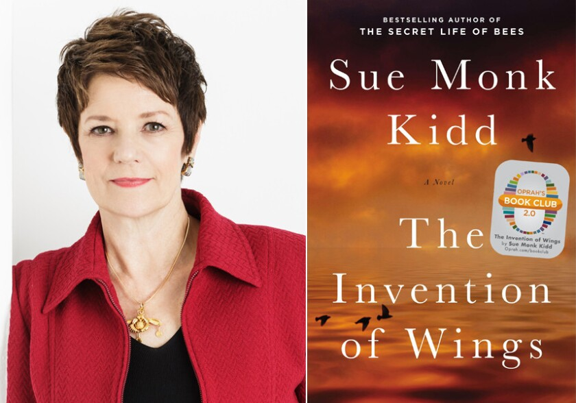 """Author Sue Monk Kidd and the cover of """"The Invention of Wings."""""""