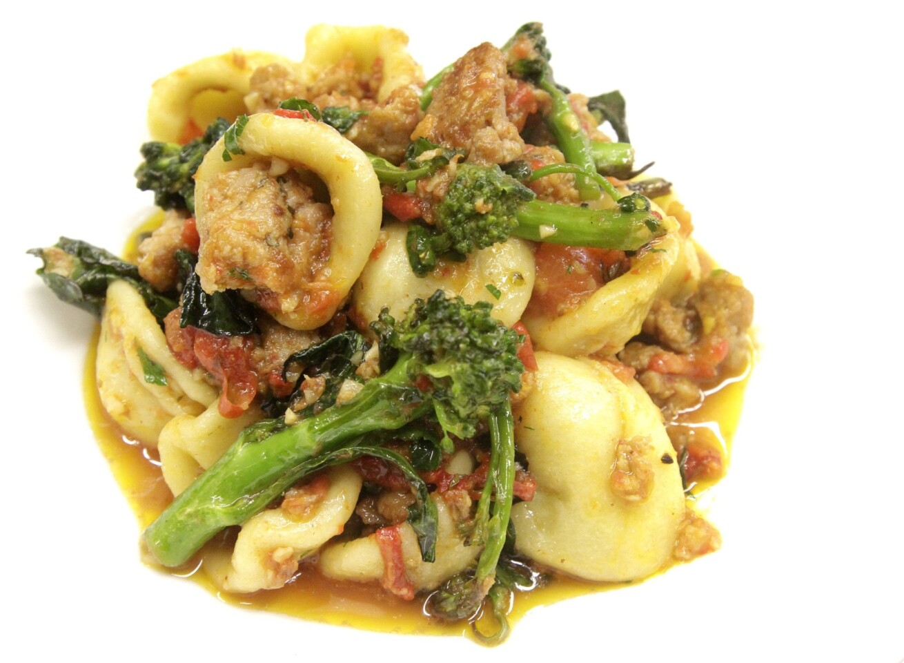 A pasta dish with orecchiette, sausage, sugo, sprouting broccoli, chiles and Ragusano at Bucato, an Italian restaurant in the Helms Bakery complex in Culver City.