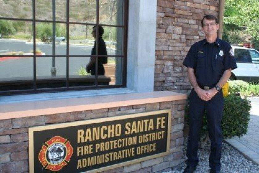 Mike Gibbs, recently promoted to deputy chief of the Rancho Santa Fe Fire Protection District, started as a volunteer firefighter when he was 16. Photo/Karen Billing