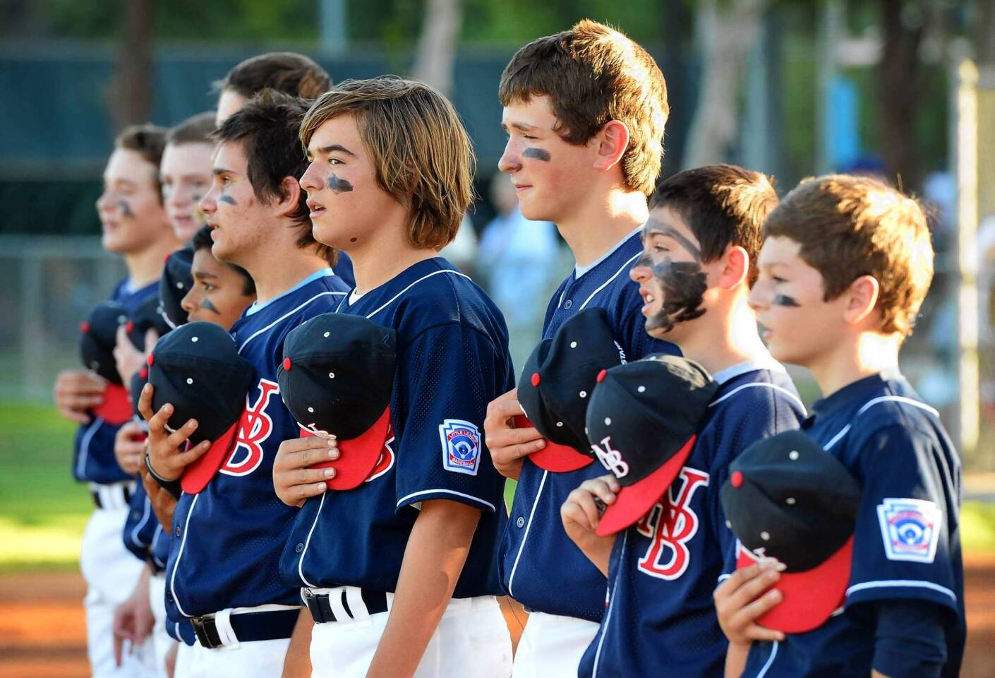 The Newport Beach Little League Major Division All-Stars team at the start of the District 55 semifinal game against Aliso Viejo at Saturday.