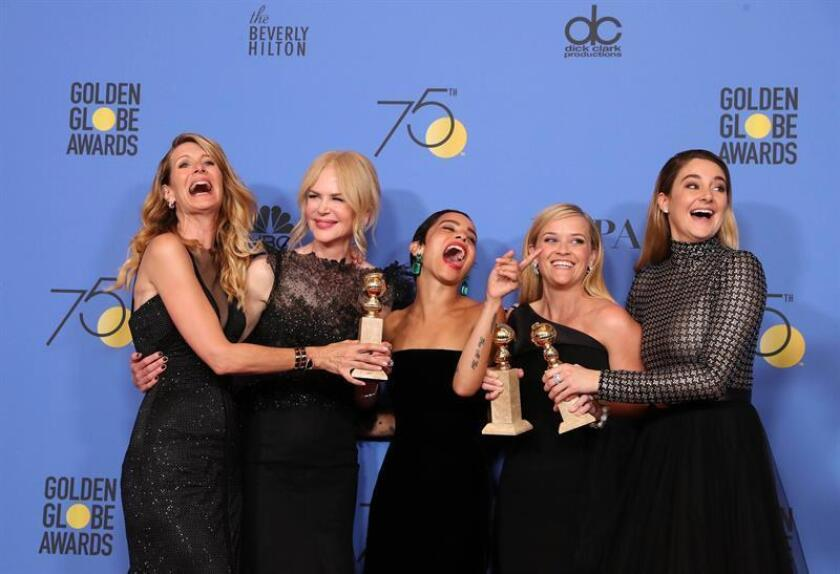 (L-R) Laura Dern, Nicole Kidman, Zoe Kravitz, Reese Witherspoon and Shailene Woodley pose with the Best Television Limited Series or Motion Picture Made for Television award for 'Big Little Lies' in the press room during the 75th annual Golden Globe Awards ceremony at the Beverly Hilton Hotel in Beverly Hills, California. EFE