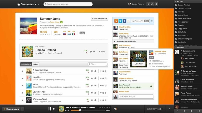 Grooveshark adds a new feature: broadcasting
