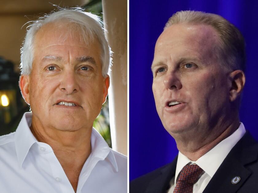 Businessman John Cox, left, and former San Diego Mayor Kevin Faulconer.