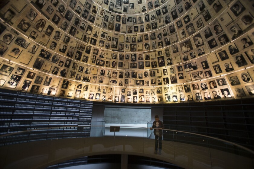 The Hall of Names at the Yad Vashem Holocaust museum in Jerusalem, which commemorates the 6 million Jews killed by Nazis during World War II.
