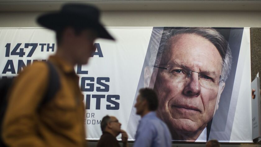 A poster with the face of Wayne LaPierre, chief executive of the NRA, inside the 2018 NRA Annual Meetings & Exhibits in Dallas, Tex. on May 3, 2018.