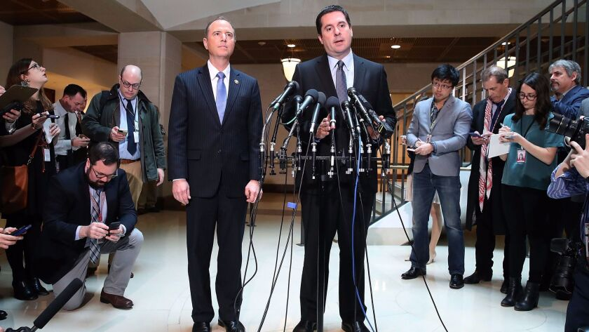 House Intelligence Committee Chairman Devin Nunes and ranking member Rep. Adam Schiff speak about the committee's investigation into Russian interference in the U.S. election.