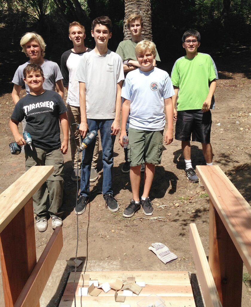 Members of Troop 4 La Jolla who helped Max Gibbs with his bridge building project at Presidio Park Palm Canyon included Eddie Parker, Christophe Gish, Sam Armstrong, Arthur Champion, Gabe Punta, Patrik Kjos and Eric Ortlieb.