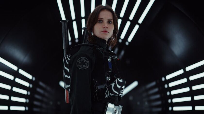 """Felicity Jones in a scene from the new film, """"Rogue One: A Star Wars Story."""""""
