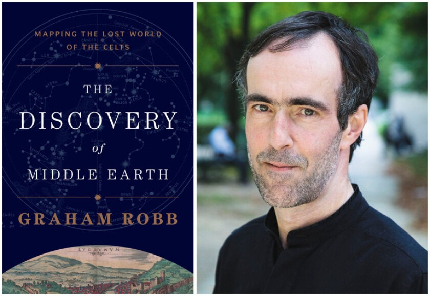 """The cover of the book, """"The Discover of Middle Earth"""" and author Graham Robb."""