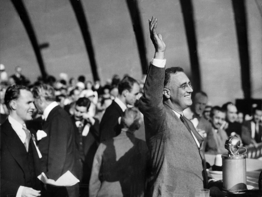 Sep. 24, 1932: Gov. Franklin D. Roosevelt of New York waves to crowd at Hollywood Bowl during his campaign for President.