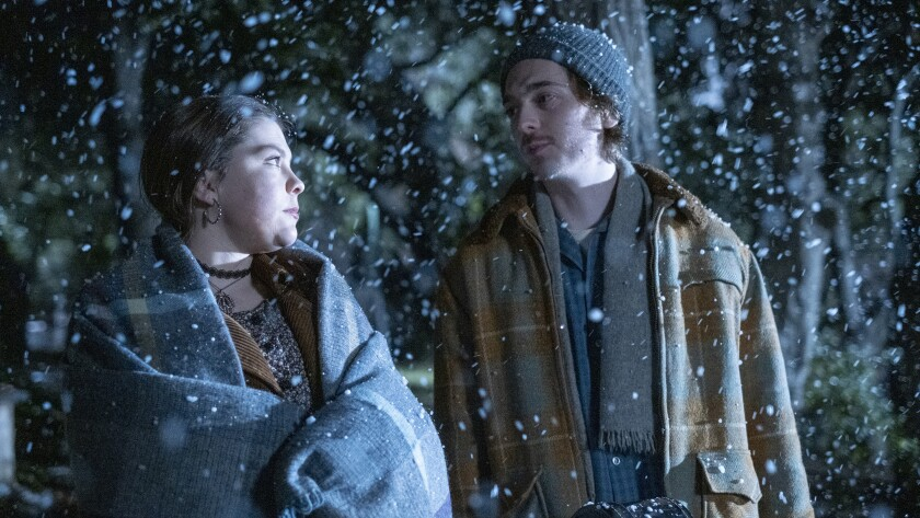 "Austin Abrams and Hannah Zeile in a new episode of the time-leaping drama ""This Is Us"" on NBC."