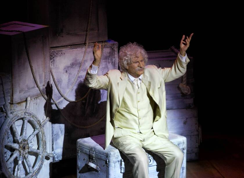 """Val Kilmer in his one-man show """"Citizen Twain"""" at the Kirk Douglas Theatre in Culver City."""