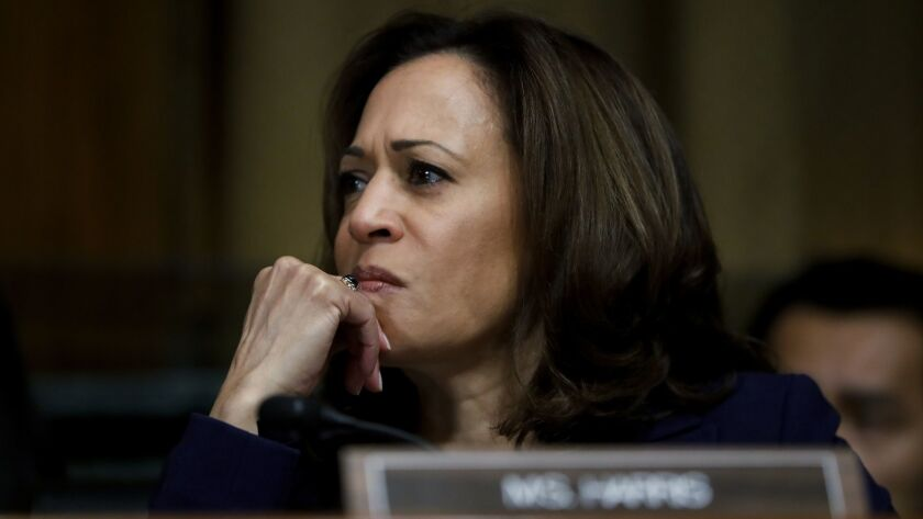 Sen. Kamala Harris (D-Calif.) attends a Senate Judiciary Committee meeting Sept. 28.