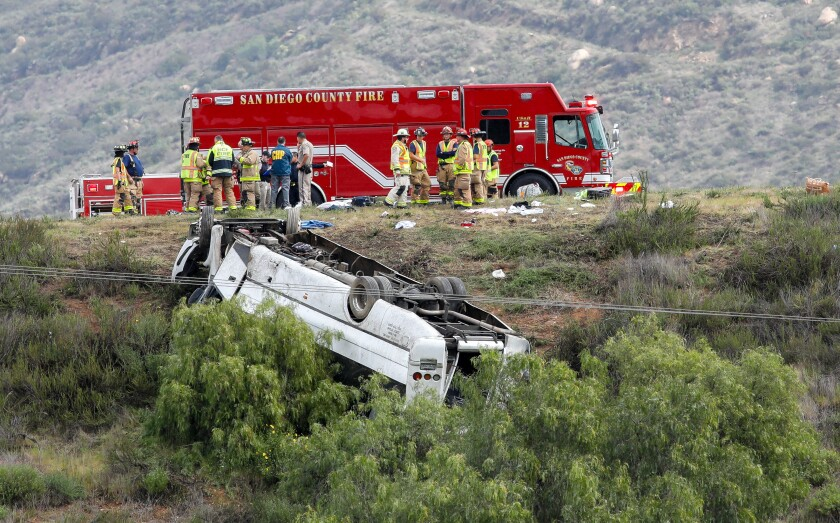A bus veered off Interstate 15 in north San Diego County, killing three people and injuring more than a dozen