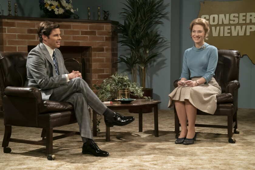 "James Marsden and Cate Blanchett in ""Mrs. America"""