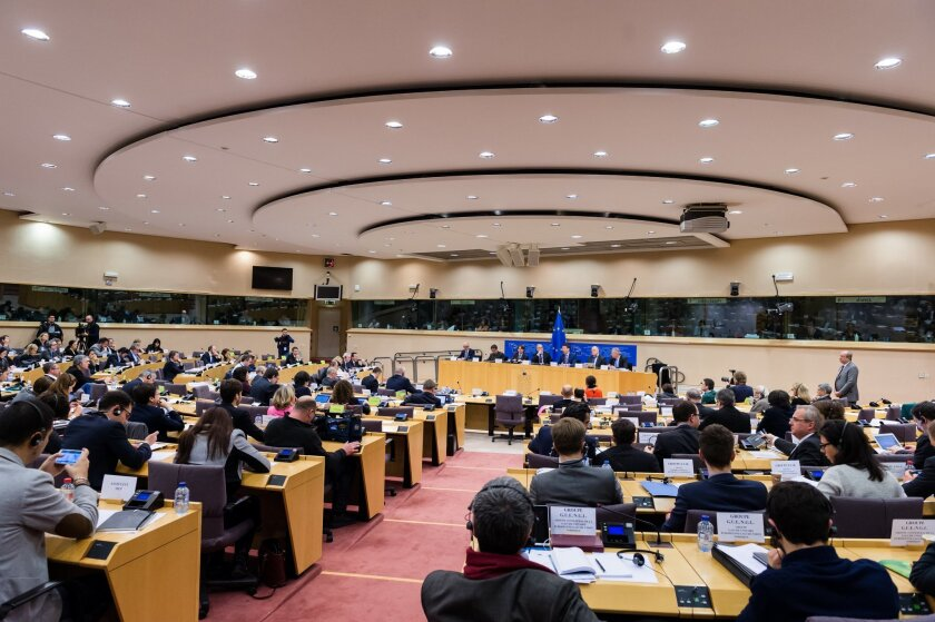 """Dutch Finance Minister and the head of the eurogroup Jeroen Dijsselbloem, center back, attends a meeting of the Committee on Economic and Monetary Affairs at the European Parliament in Brussels on Tuesday, Feb. 24, 2015. An official at the European Union's executive branch said Tuesday that the list of Greek reform measures for final approval of the extended rescue loans """"is sufficiently comprehensive to be a valid starting point."""" Dijsselbloem said that he received the list last night and that """"it is being assessed at the moment by the institutions."""" (AP Photo/Geert Vanden Wijngaert)"""