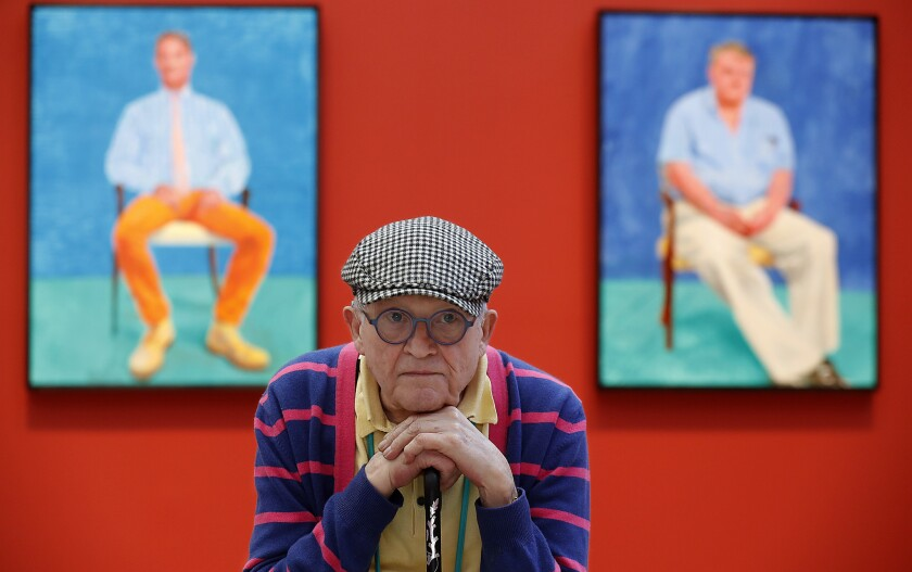 "David Hockney at the Los Angeles County Museum of Art, which has an exhibition of newly painted portraits. ""When I'm in the studio, I feel like I'm 30,"" he says. ""But when I leave it, I know I'm 80."""