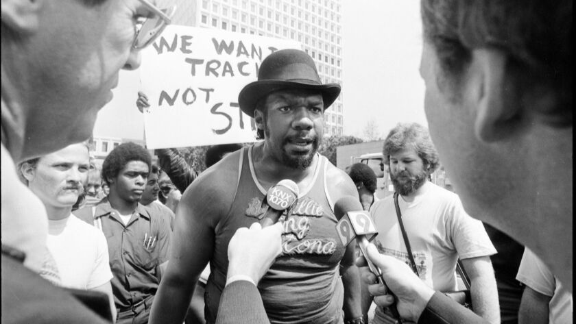 March 24, 1981: Big Willie Robinson during a demonstraton in downtown Los Angeles in support of a pr