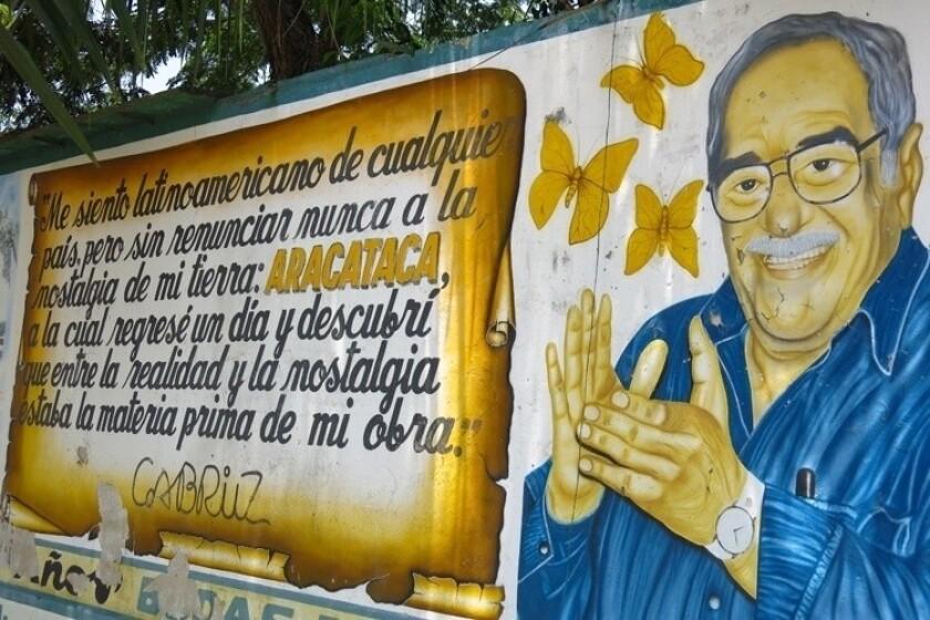 Gabriel Garcia Marquez mural in Aracataca