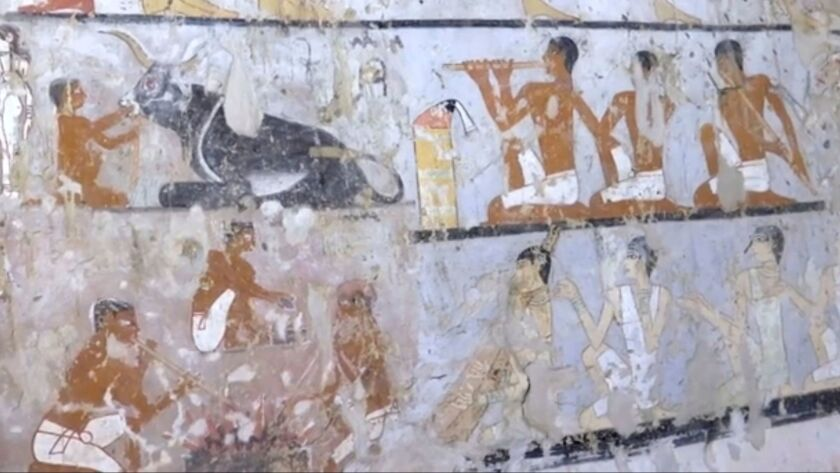 This image taken from video on Saturday, Feb. 3, 2018, shows wall paintings inside a 4,400-year-old