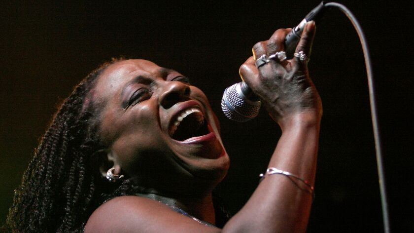 Sharon Jones in concert. The singer, who died Friday, was recalled by her longtime bandmate Gabriel Roth.