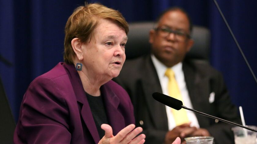 Supervisors Sheila Kuehl and Mark Ridley-Thomas, seen in 2015, co-authored a motion approved Tuesday to explore options for regulating firearms in Los Angeles County.