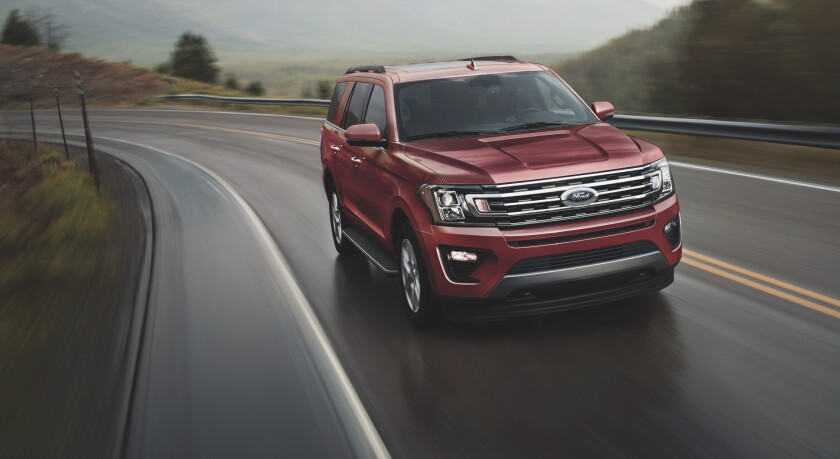 This undated photo from Ford shows the 2021 Ford Expedition, a large SUV that has been ranked No. 1 by Edmunds for the past couple of years. (Steve Petrovich/Ford Motor Co. via AP)