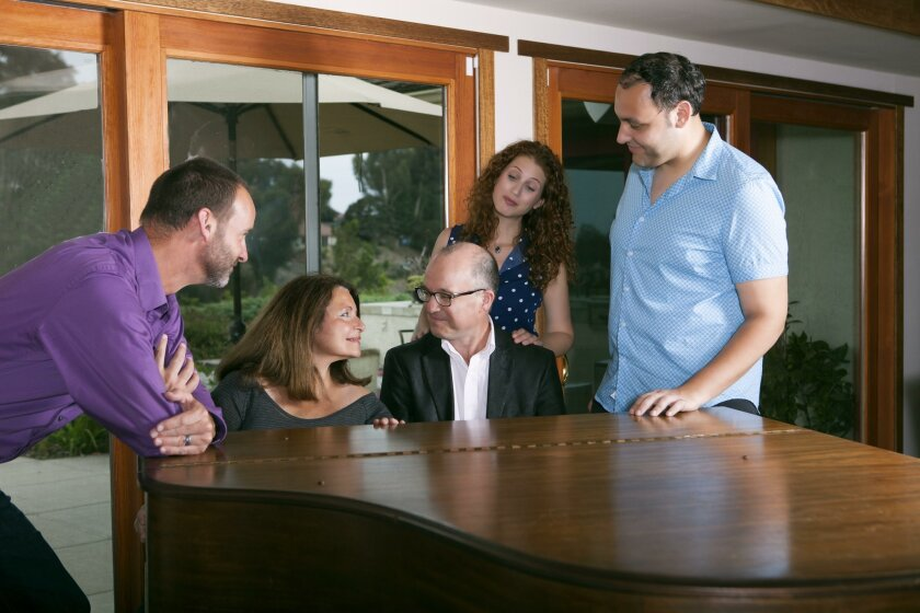 Randall Dodge, Angelina Reaux, Alby Potts, Rena Strober and Nicholas Mongiardo-Cooper rehearse for 'Side By Side By Sondheim.'