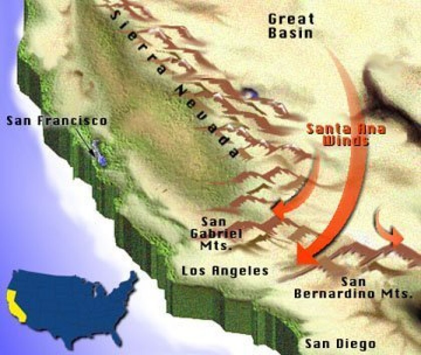 Strong Santa Ana wind events can blow dust and soil far out to sea.