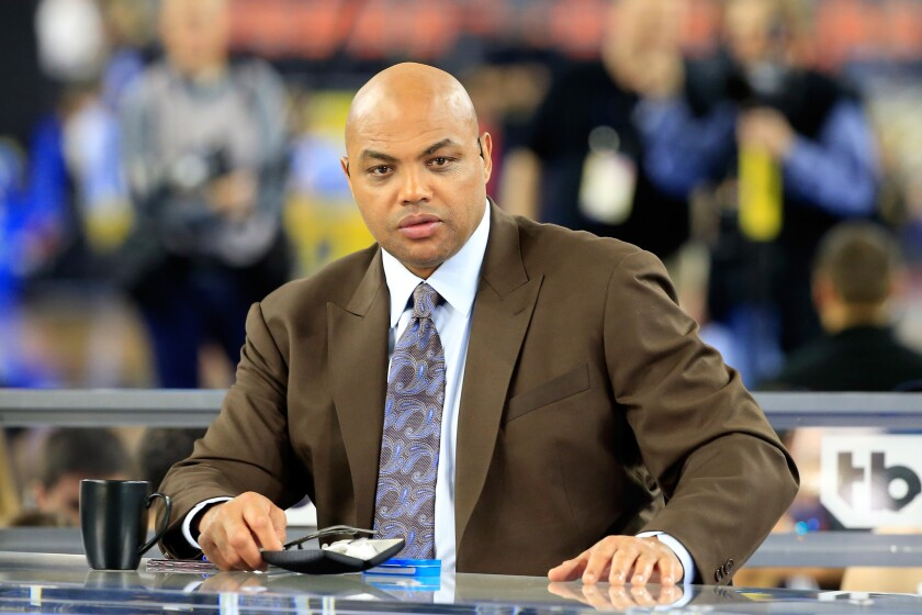 Charles Barkley works at the 2016 NCAA men's basketball championship game on April 4.
