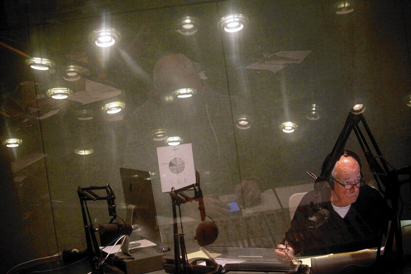 """Warren Olney hosts """"Which Way, L.A.?"""" from the basement studio at KCRW at Santa Monica College."""