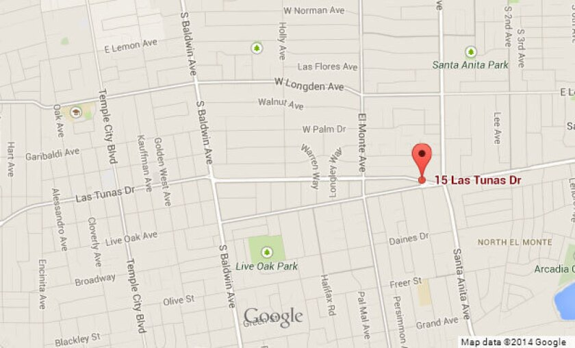 Approximate location where a van crashed into an adult health care center in Arcadia.
