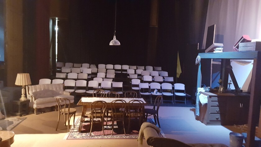 'The Diary of Anne Frank' is set up on a black box stage, which is minimal and the seats surround the stage.