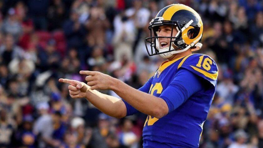 Rams quarterback Jared Goff celebrates a touchdown pass against the 49ers last season.