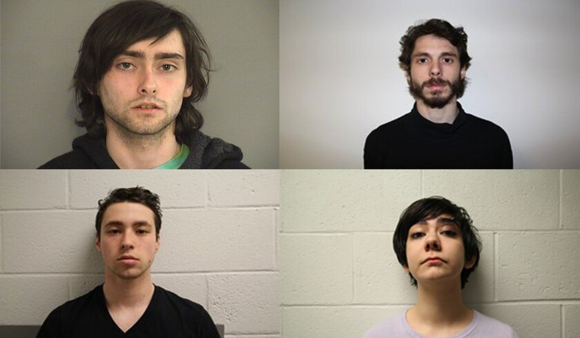 Three men and one woman were arrested Tuesday night, according to police in Middletown, Conn. The students arrested were (clockwise top left) Andrew Olson, 20, of Atascadero, Calif., Eric Lonergan, 21, of Rio de Janeiro, Rama Agha Al Nakib, 20, of Lutherville Md. and Zachary Kramer, 21, of Bethesda, Md.