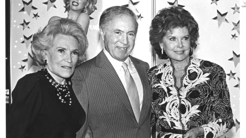 Dorothy Kirsten French, from left, Tedd Mann and Rhonda Fleming, who was known as the Queen of Technicolor in 1987.