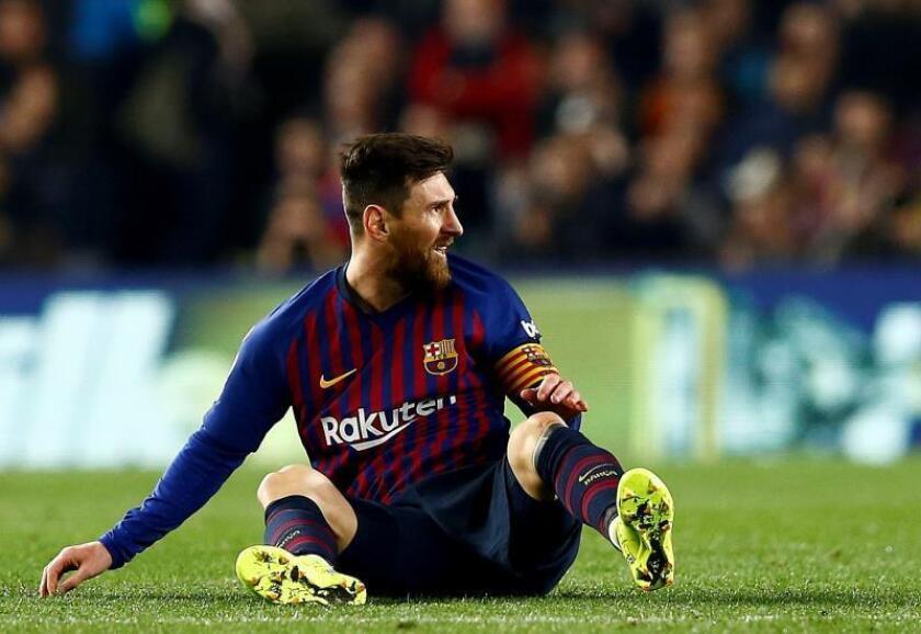 El delantero argentino del FC Barcelona, Leo Messi, durante el encuentro correspondiente a la ida de las semifinales de la Copa del Rey en el estadio Camp Nou, en Barcelona. EFE /Archivo