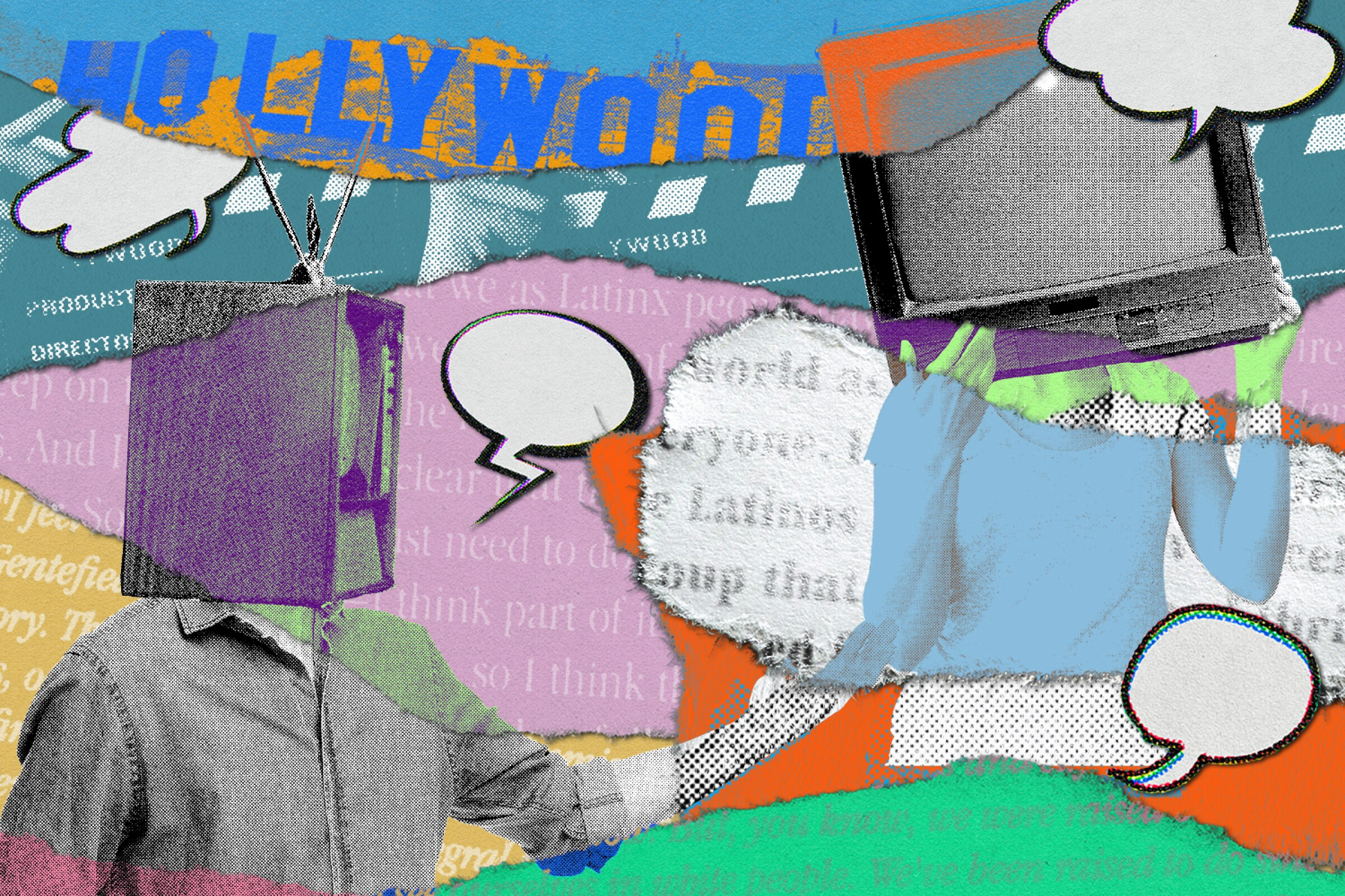 Illustration of different colored paper strips with text on them, the Hollywood sign image and two people with TVs for heads.
