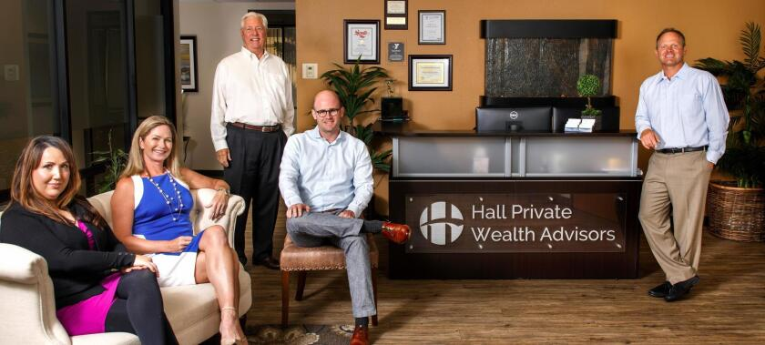 The team at Hall Private Wealth Advisors: Amanda Rocca, Natalie Quirarte, Patrick Maher, Clark Evans and company founder Russell Hall. Hall Private Wealth Advisors is located at 462 Stevens Ave., Suite 105, Solana Beach. (858) 263-1675. hallpwa.com