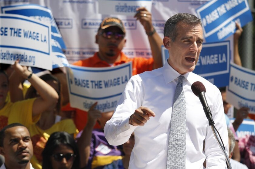 Mayor Eric Garcetti has proposed Los Angeles' first-ever citywide minimum wage.