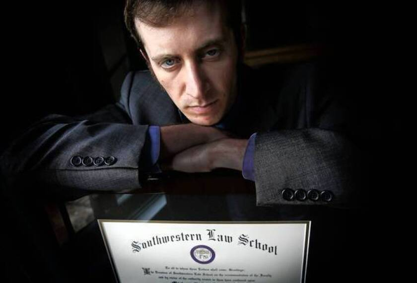 Michael Lieberman, who earned his law degree from Southwestern Law School in Los Angeles, is part of a class-action lawsuit charging that law schools made false promises to prospective students.