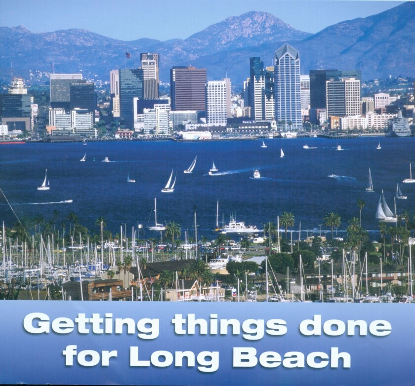 A campaign mailer for Long Beach mayoral candidate Bonnie Lowenthal actually shows the San Diego skyline.
