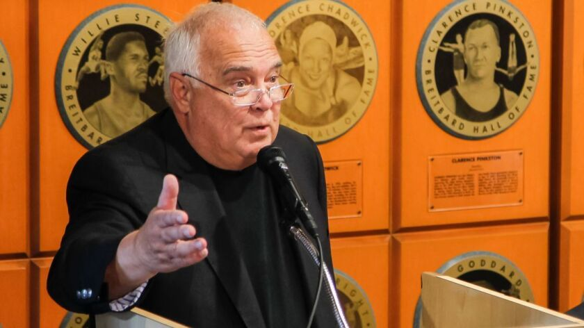 Padres executive chairman Ron Fowler speaks at the dedication for the new location of the Breitbard Hall of Fame in the Western Metal Supply Building at Petco Park on Sept. 29, 2017.