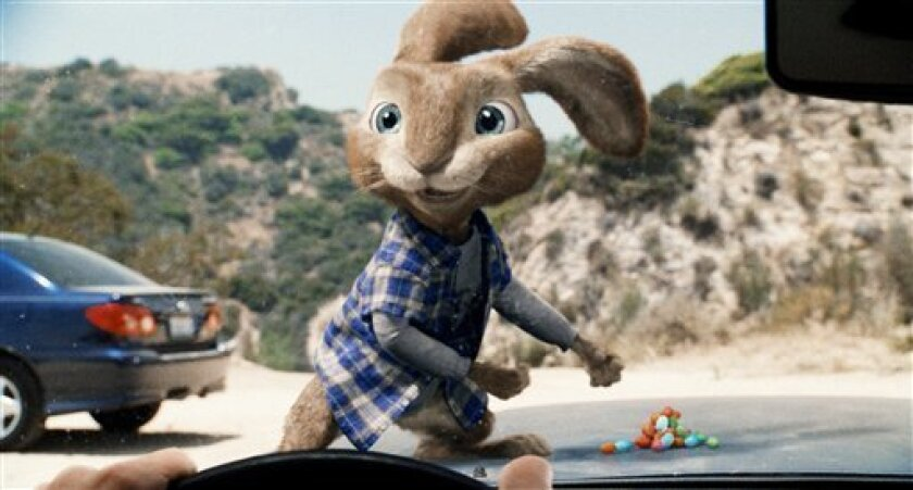 "In this film publicity image released by Universal Pictures, E.B., the teenage son of the Easter Bunny, voiced by Russell Brand, is shown in a scene from ""Hop."" (AP Photo/Universal Pictures)"