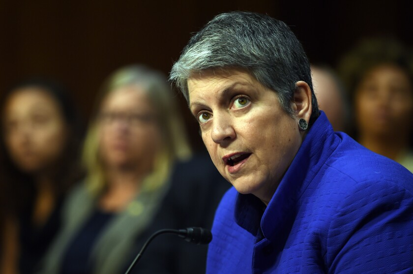 UC President Janet Napolitano recommends suspending the SAT and ACT as admissions requirements, proposing instead a plan to make them optional for two years.