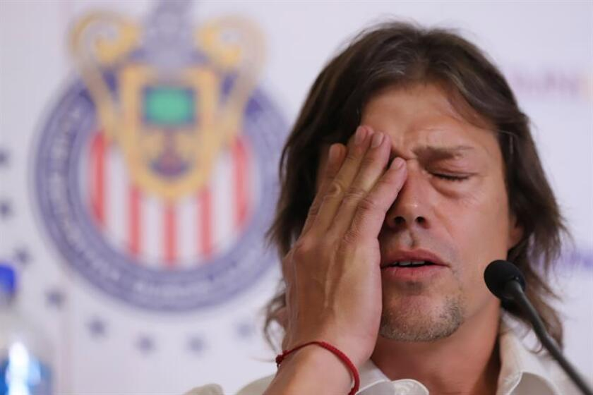 El argentino Matías Almeyda participa hoy, lunes 11 de junio de 2018, en una rueda de prensa en la ciudad de Guadalajara, Jalisco (México). EFE