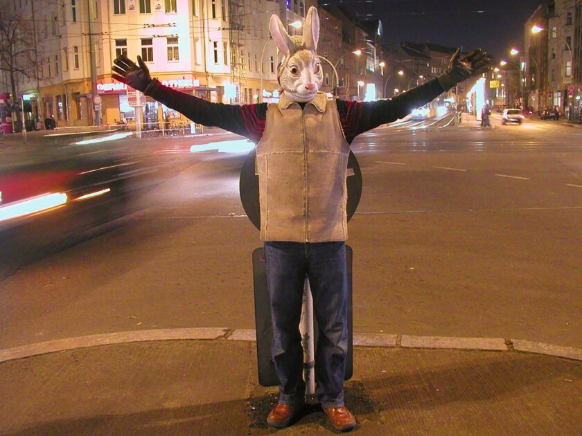 Viewers will become co-stars in a movie as Berlin-based Gob Squad Arts Collective (and their Gob Squad Bunny) create 'Super Night Shot,' a magical mystery tour through the night-time streets of San Diego, Sept. 19-21, at the Central Library.