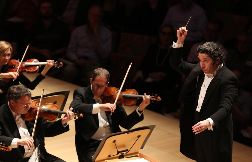 """Gustavo Dudamel and the L.A. Phil perform Arvo Pärt's """"Cantus in Memory of Benjamin Britten"""" at the Walt Disney Concert Hall."""